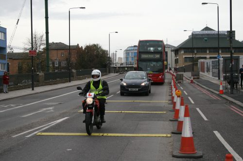 Temporary Rumble Strips with motorbike