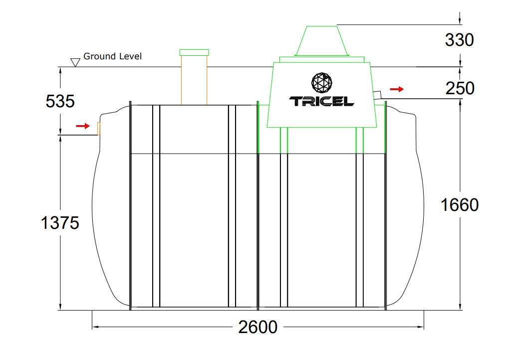 Tricel Novo UK6 Gravity Outlet