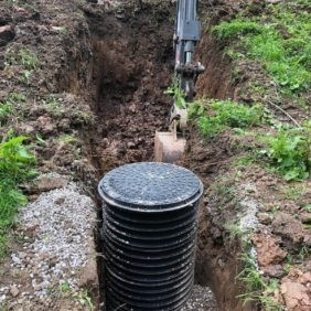 Removal of the existing septic tank